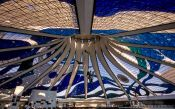 Travel photography:Inside the Catedral Metropolitana in Brasilia, by architect Oscar Niemeyer, Brazil
