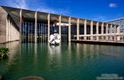 Travel photography:The Itamarati palace (Ministry of Foreign Affairs building) in Brasilia, by architect Oscar Niemeyer, Brazil