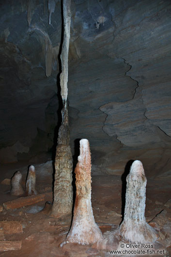 Stalagmites inside the Gruta da Lapa Doce near Len��is