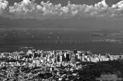 Travel photography:Panoramic view of Rio de Janeiro and Niteroi bridge, Brazil