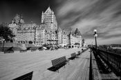 Travel photography:Quebec�s Ch�teau Frontenac castle with Terrasse Dufferin promenade , Canada