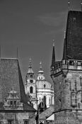 Travel photography:Skyline of the Lesser Quarter viewed from Charles Bridge, Czech Republic