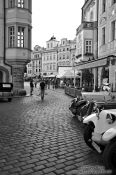 Travel photography:Classic cars in Prague`s Old Town, Czech Republic