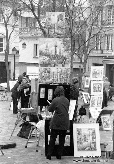 Painters in Montmartre in Paris