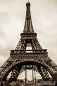 Sepia toned image of the Paris Eiffel Tower, France