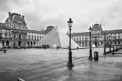 Paris Louvre museum with glass pyramid, France