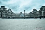 Travel photography:Cyanotype image of the Louvre museum in Paris, France