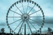 Travel photography:Cyanotype image of Place de la Concorde in Paris with ferris wheel and obelisk, France