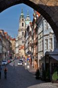 Travel photography:Western exit into the Lesser Quarter from Charles Bridge , Czech Republic