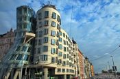 Travel photography:The `Dancing House� (Tanc�c� dům) by architect Frank Gehry, Czech Republic
