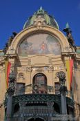 Travel photography:Facade detail of the `Representation House � (Obecn� dům), Czech Republic