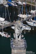 Travel photography:Lindau lion guarding the harbour entrance, Germany