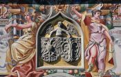 Detail of the painted facade of the Lindau town hall, Germany