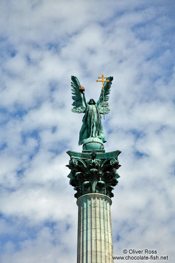The archangel Gabriel atop the Millennium column on Budapest�s Heros� Square