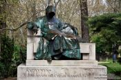 Travel photography:Sculpture of Anonymus in Budapest�s Vajdahunyad castle, Hungary