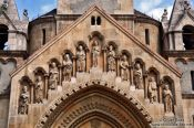 Travel photography:Detail above the entrance portal to the J�k chapel in Budapest�s Vajdahunyad castle, Hungary