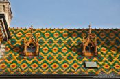 Travel photography:Roof detail of the Budapest market hall, Hungary