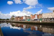 Travel photography:River Liffey in Dublin with houses, Ireland