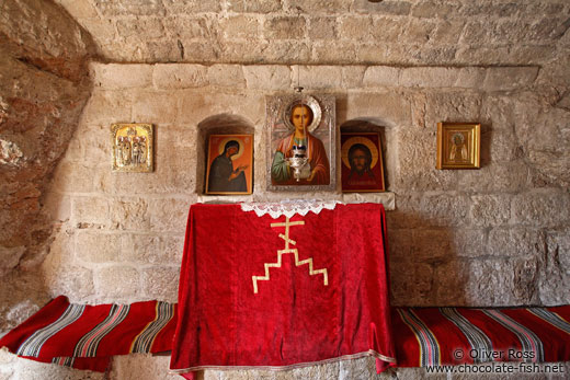 Small altar inside the Cetinje monastery