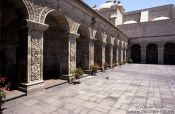Travel photography:Courtyard of the Monasteiro Santa Catalina in Arequipa, Peru