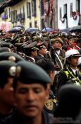Travel photography:Military participation at the procession of el Se�or de los Temblores (Lord of the earthquakes) in Cusco, Peru