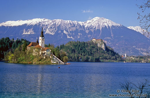 Island with church and Bled Castle with Blejsko jezero (Bled lake) and the Slovenian Alps in the background