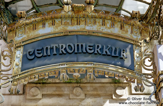 Entrance to the Centromerkur building in Ljubljana