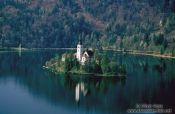 Island with church surrounded by Blejsko jezero (Bled lake), Slovenia