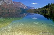 Reflections in Bohinjsko lake, Slovenia