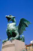 Travel photography:Dragon guarding a bridge in Ljubljana, Slovenia
