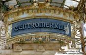 Travel photography:Entrance to the Centromerkur building in Ljubljana, Slovenia