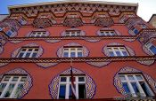 Travel photography:Facade of the People�s Loan Bank in Ljubljana, Slovenia