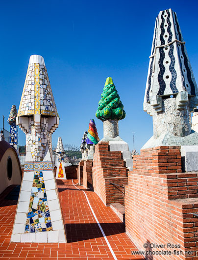 Sculpted chimneys on the roof terrace of Palau Güell
