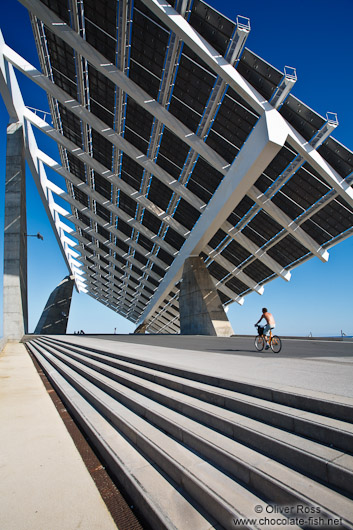 Large array of solar panels in the Barcelona Forum