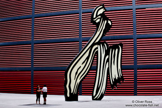 The Reina Sofia museum in Madrid with the sculpture by Roy Lichtenstein