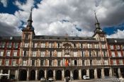 Painted facades on Madrid�s Plaza Mayor, Spain