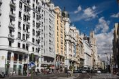 Houses along the Gran Via in Madrid, Spain