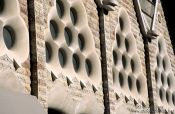 Travel photography:Facade detail of the Sagrada Familia Cathedral in Barcelona, Spain