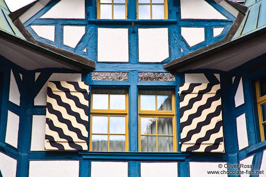 Facade detail of a half-timbered house in Sankt Gallen