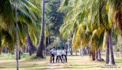 Travel photography:School children exploring the Sukhothai temple complex, Thailand
