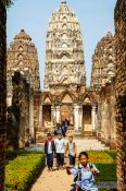 Travel photography:Kids on a school trip to Sukhothai temple complex, Thailand