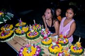 Selling the flower floats for the Loi Krathong festival., Thailand