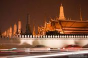 Traffic outside the Royal Palaca by night , Thailand