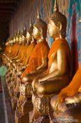 Row of golden Buddhas inside Bangkok�s Wat Arun , Thailand