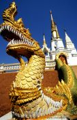 Travel photography:Dragon-eat-dragon figure at a temple in Chiang Rai province, Thailand
