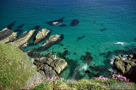 Turquoise waters off the Cornwall Coast