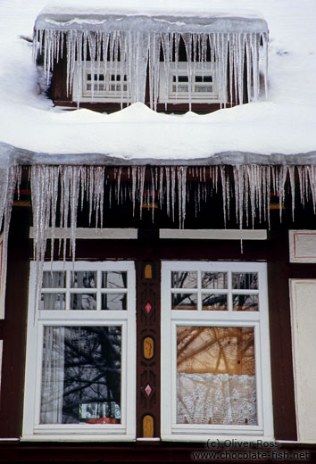 Icicles out side a window