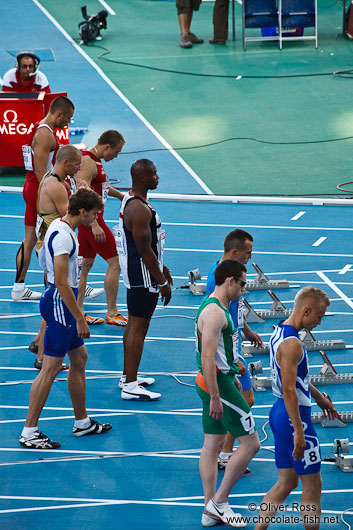Start of the 100m Men´s Semi-Final showing the later champion Christophe Lemaître