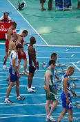 Travel photography:Start of the 100m Men´s Semi-Final showing the later champion Christophe Lemaître, Spain