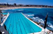 Travel photography:Swimming pool with Bondi beach, Australia